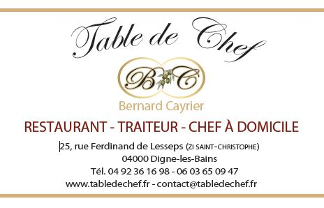 carte viste table de chef